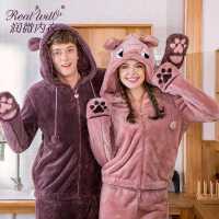 润微情侣睡衣女冬季长袖可爱卡通舒适珊瑚绒家居服套装男女可外穿