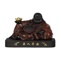 汽车摆件弥勒佛像创意实用活性炭雕车内装饰品车载摆件