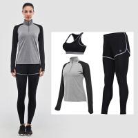 瑜伽服套装女秋冬跑步休闲健身服弹力显瘦吸湿排汗速干衣训练服三件套