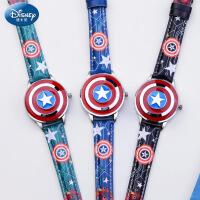 美国队长儿童手表男孩迪士尼翻盖电子石英表男童防水夜光学生手表