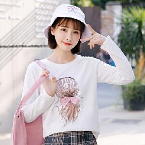 【超级品牌日!下单立减100!】长袖t恤女2018新款秋季韩版宽松打底衫女
