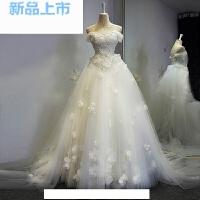 蕾丝钉珠抹胸公主新娘一字肩大拖尾婚纱礼服