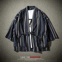 夏装日系轻薄款外衣男士宽松棉麻短袖外套韩版潮流条纹夹克衫夏天