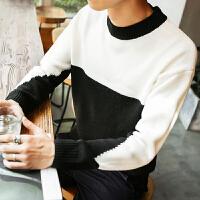 新款秋冬男士原宿风个性拼色圆领毛衣日系潮学生韩版宽松针织