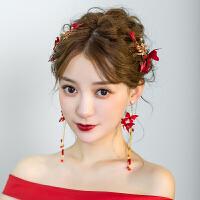 森系甜美结婚婚纱礼服配饰新娘头饰红色仙美发饰耳环套装