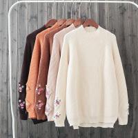 E6半高领纯色花朵刺绣长袖套头毛衣女冬季韩版学生百搭针织衫潮