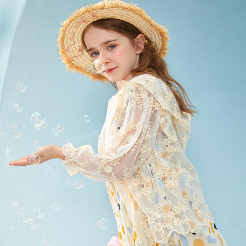 【2件3折:85】巴拉巴拉旗下女童蕾丝罩衫2020新款夏装儿童防晒皮肤衣外套女
