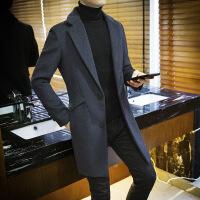 风衣男中长款韩版修身男士冬季2018新款羊毛呢子大衣毛呢秋冬外套