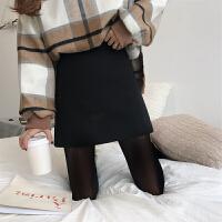 春装韩版修身毛呢A字包臀短裙 复古港风显瘦百搭高腰半身裙女裙子 黑色