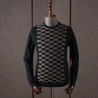 秋冬商务休闲毛衣全羊毛时尚拼色百搭圆领羊毛衫潮流几何图案