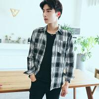 新款加小码男士衬衣长袖格子衬衫修身韩版瘦小个子寸衫XS小码S号