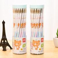 得力铅笔学生书写铅笔30支桶装儿童卡通带皮头2B铅笔写字绘画