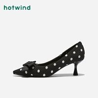 【大牌日3折价76.5元】热风女士波点蝴蝶结单鞋尖头细高跟鞋H04W9309