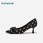 热风女士波点蝴蝶结单鞋尖头细高跟鞋H04W9309