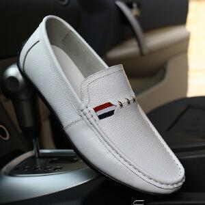 2017春季新款男士舒适驾车鞋豆豆鞋真皮套脚鞋休闲鞋男鞋商务休闲皮鞋子8027BBS支持