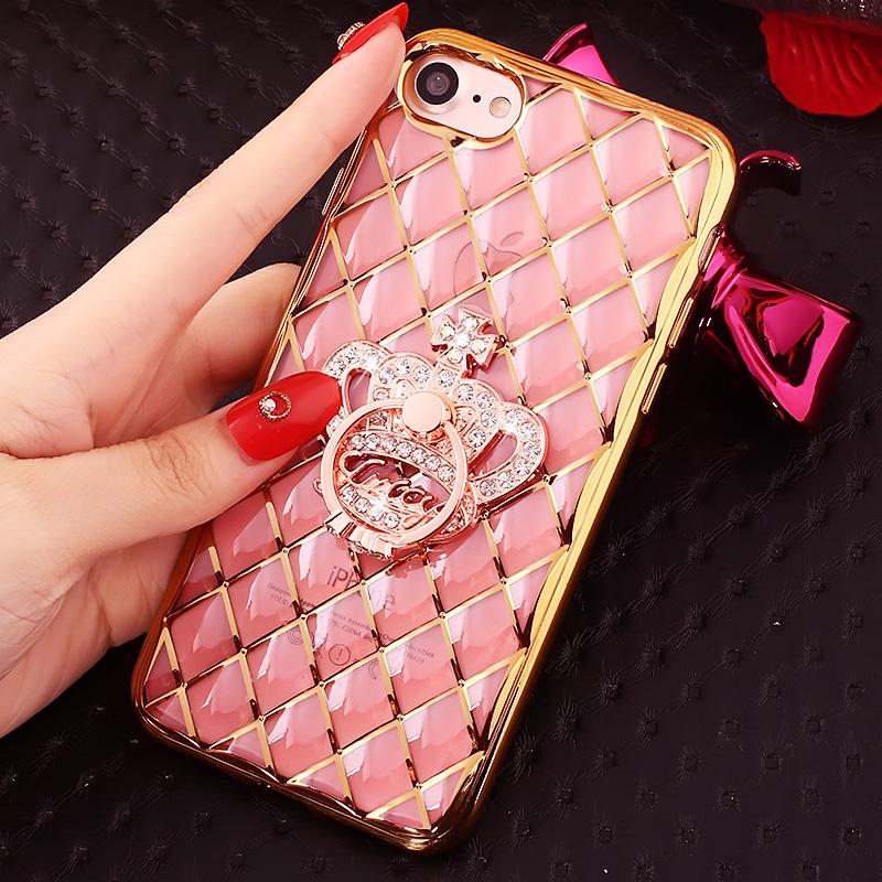 苹果7手机壳指环支架IPhone7S保护套水晶镶钻外壳4.7寸全包边