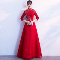 红色新娘敬酒服2018春季新款优雅中式修身晚礼服女结婚显瘦中长款