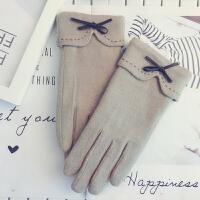 羊绒手套女冬韩版可爱修手开车触屏保暖加绒加厚学生骑车防寒手套