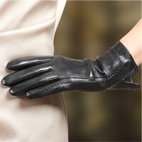 手套女士冬季保暖开车触摸屏羊皮手套