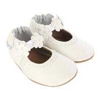 保税区发货/美国直邮 Robeez Claire Mary Jane 女童软底学步鞋弹性带3D贴花 白色 海外购