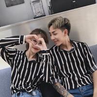 情侣装衬衫长袖韩版学院风新款潮流范学生衬衣条纹宽松寸衫
