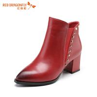 红蜻蜓冬季马丁靴女尖头粗跟短靴高跟单靴子