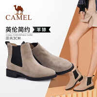 骆驼女鞋2019冬季新款加绒中跟短靴女绒面马丁靴时尚休闲短筒女靴