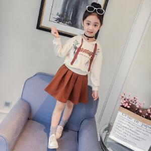 乌龟先森 卫衣 女童字母长袖套头衫秋季新款韩版儿童简约时尚个性连帽套裙中大童两件套