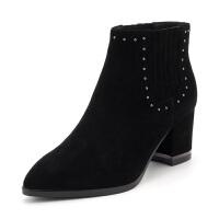 【3折再减80】星期六(ST&SAT)冬季专柜同款绒面羊皮革切尔西粗跟短靴SS84116109