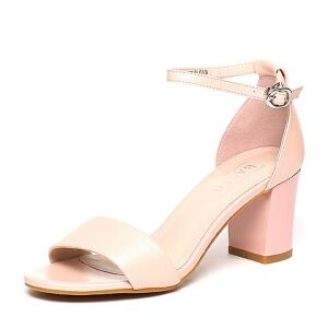 BASTO/百思图夏季专柜同款羊皮简约时尚粗高跟女凉鞋TTF07BL6