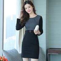 秋冬新款女长袖连衣裙韩版气质加厚显瘦中长款加绒保暖包臀裙