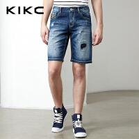 kikc牛仔五分裤男2018夏季新款高街破洞潮流修身低腰休闲短裤男士