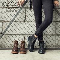 玛菲玛图靴子女秋新款短靴 马丁靴女平底英伦 复古学院风系带中跟单靴5531-2
