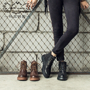 玛菲玛图2019秋新款马丁靴女平底英伦风复古学院系带中跟单靴5531-2W