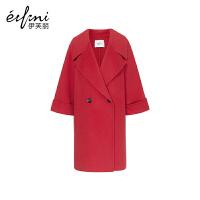 2件3折价:594 【商场同款】伊芙丽冬装新款毛呢外套宽松中长款双面呢大衣女