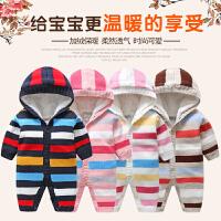 3-6-12个月婴儿毛衣男宝宝加绒加厚毛衣初生婴儿衣服新生儿秋冬装