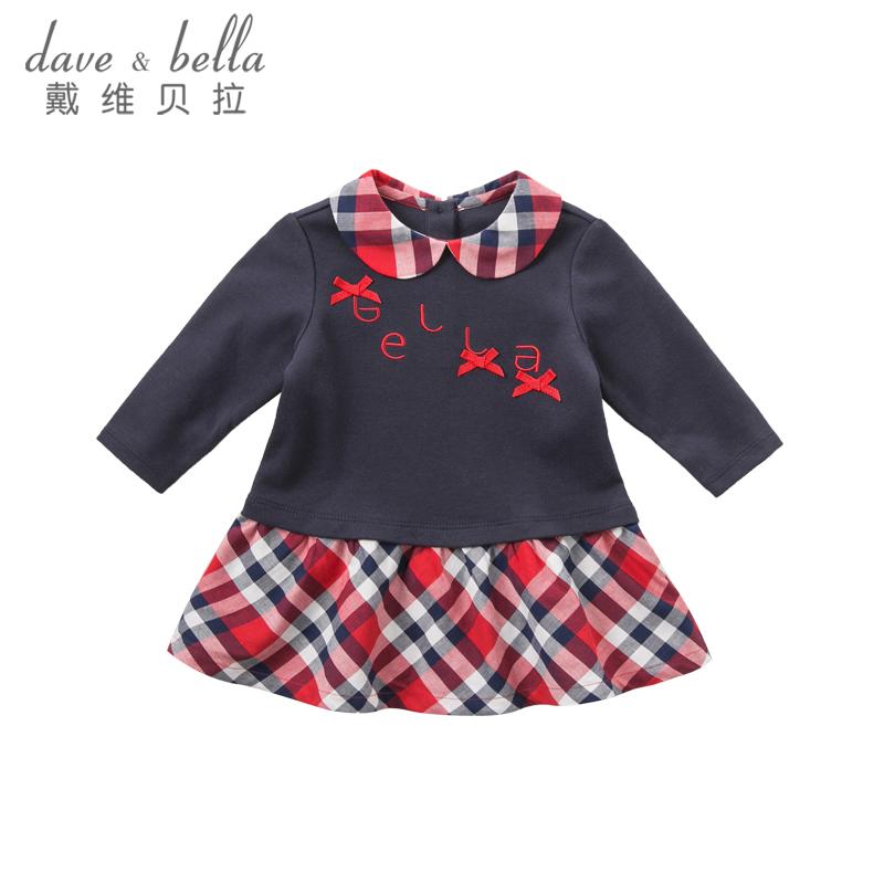 戴维贝拉春装女童连衣裙 宝宝拼接连衣裙DB8426 娃娃领甜美可爱 蝴蝶结点缀