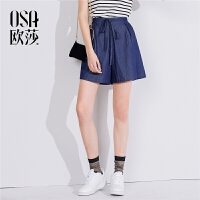 ⑩OSA欧莎2018夏装新款女装 简约宽松高腰牛仔短裤B52011