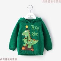 童装宝宝男童套头针织衫秋装 小童儿童连帽圣诞节毛衣冬装 绿色