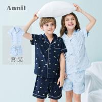 【3件3折:89.7】安奈儿童装男女童短袖家居睡衣套装夏装新款