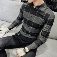 新品18春装男式韩版修身格子棉质长袖衬衫潮流英伦青年免烫休闲衬