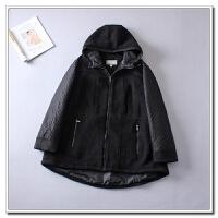 秋冬中长胖MM200斤连帽百搭拉链时尚长袖保暖夹克外套