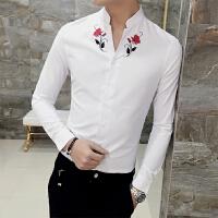 春装薄款衬衣男韩版修身V领长袖衬衫发型师刺绣花衬衫男青年