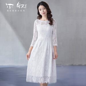 烟花烫2018秋新款女装修身显瘦中长款蕾丝连衣裙 积翠