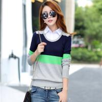 毛衣2018春季女士假两件针织衫宽松套头韩版衬衫领毛衣打底衫学生