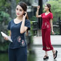 中国风女装打底衫 夏装新款 民族风上衣 亚麻刺绣短袖衬衫女