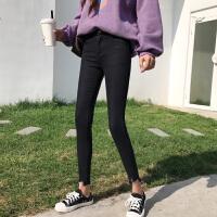 春装新款bf原宿风不规则韩版铅笔裤高腰牛仔裤女修身小脚长裤