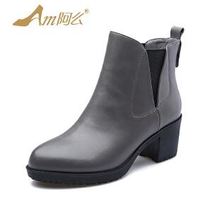 【冬季清仓】阿么韩版靴粗跟加绒踝靴套筒短筒女靴子复古时装靴秋冬女靴