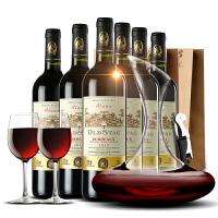 法国酒庄直采原瓶原装进口AOC级艾洛干红葡萄酒 红酒整箱6支装+醒酒器+2酒杯+海马刀