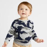 戴维贝拉春装新款男童针织衫宝宝迷彩毛衣DB8545